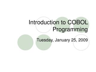 Introduction to COBOL Programming