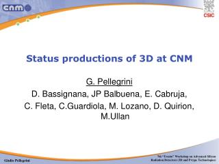 Status productions of 3D at CNM
