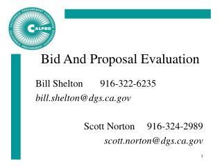 Bid And Proposal Evaluation