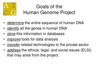 Goals of the  Human Genome Project