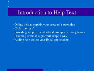 Introduction to Help Text