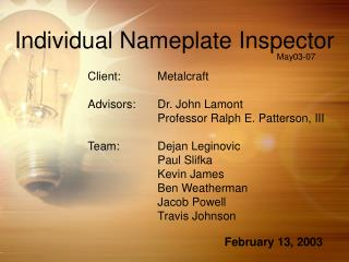 Individual Nameplate Inspector