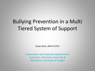 Bullying Prevention in a Multi Tiered System of Support