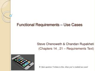 Functional Requirements – Use Cases