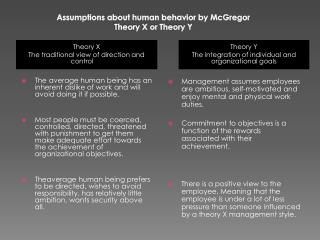 Assumptions about human  behavior by McGregor Theory X or Theory Y