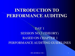 INTRODUCTION TO PERFORMANCE AUDITING