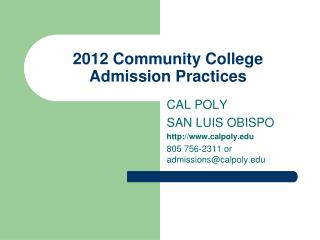 2012 Community College Admission Practices