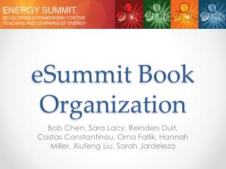 eSummit Book Organization