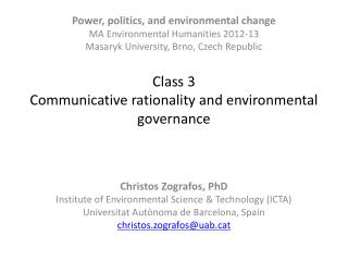 Class 3  Communicative rationality and environmental governance