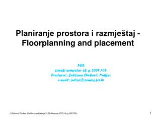 Planiranje prostora i razmještaj - Floorplanning and placement