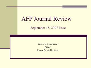 AFP Journal Review September 15, 2007 Issue