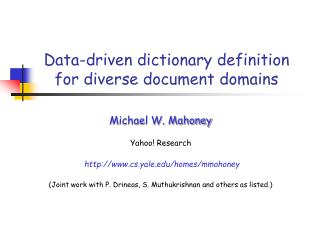 Data-driven dictionary definition for diverse document domains