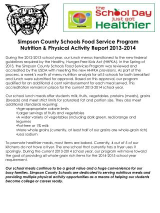 Simpson County Schools Food Service Program Nutrition & Physical Activity Report 2013-2014