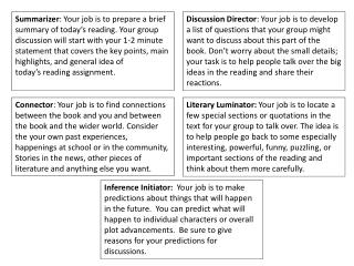 Summarizer : Your job is to prepare a brief summary of today's reading. Your group