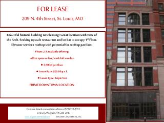 FOR LEASE 209 N. 4th Street, St. Louis, MO