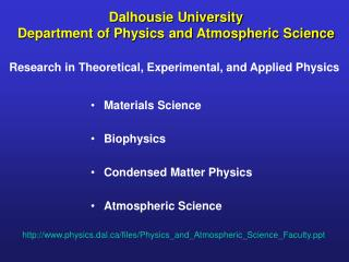 Dalhousie University Department of Physics and Atmospheric Science