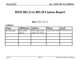 IEEE 802.11 to 802.18 Liaison Report