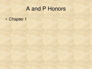 A and P Honors