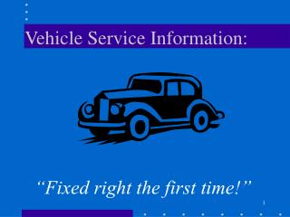 Vehicle Service Information: