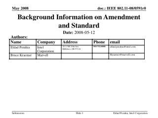 Background Information on Amendment and Standard