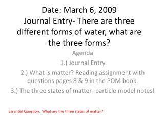 Agenda 1.) Journal Entry