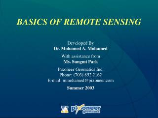 BASICS OF REMOTE SENSING