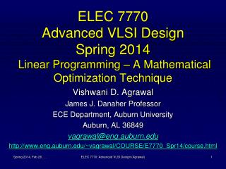 Vishwani  D.  Agrawal James J. Danaher Professor ECE Department, Auburn University