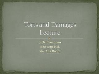 Torts and Damages Lecture