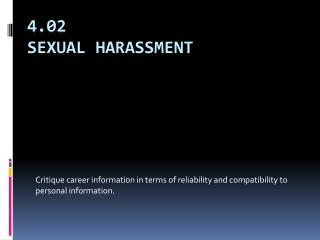 4.02 Sexual Harassment