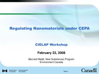 Regulating Nanomaterials under CEPA
