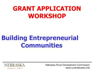GRANT APPLICATION WORKSHOP