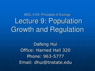 BIOL 4120: Principles of Ecology  Lecture 9: Population Growth and Regulation