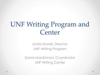 UNF Writing Program and Center