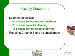 Facility Decisions
