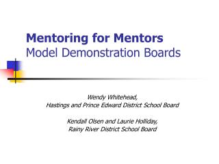 Mentoring for Mentors Model Demonstration Boards