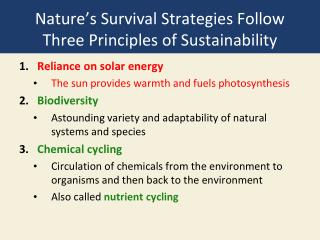 Nature's Survival Strategies Follow Three Principles of Sustainability