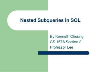 Nested Subqueries in SQL