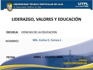 ESCUELA :    CIENCIAS DE LA EDUCACION
