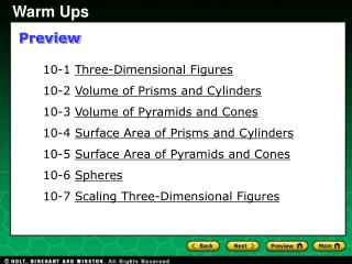 10-1  Three-Dimensional Figures 10-2  Volume of Prisms and Cylinders