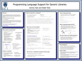 Programming Language Support for Generic Libraries Jeremy Siek and Walid Taha