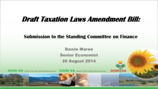 Draft Taxation Laws Amendment Bill: Submission to the Standing Committee on Finance