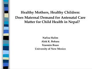 Healthy Mothers, Healthy Children: