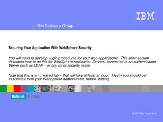 Securing Your Application With WebSphere Security