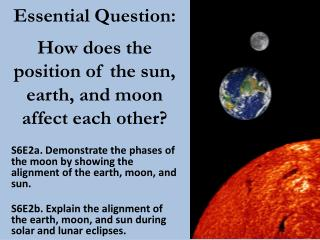 Essential Question: How does the position of the sun, earth, and moon affect each other?