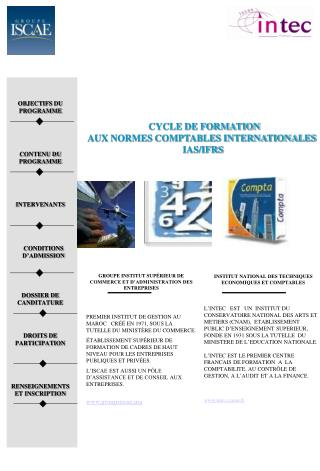 CYCLE DE FORMATION  AUX NORMES COMPTABLES INTERNATIONALES  IAS/IFRS