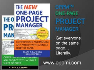 OPPM tm One-Page Project   Manager