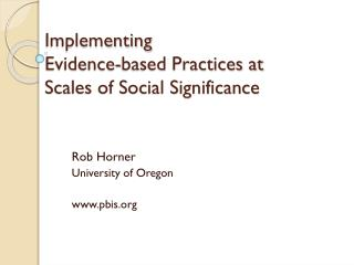 Implementing  Evidence-based Practices at  Scales of Social Significance