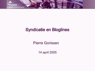 Syndicatie en Bloglines