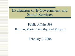 Evaluation of E-Government and Social Services