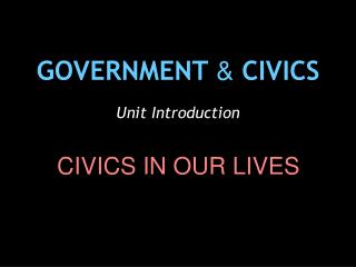 GOVERNMENT  &  CIVICS